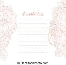 date, monochrome, sauver, invitation