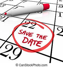 date, mots, entouré, marqueur, calendrier, sauver, rouges