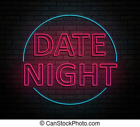 3d Illustration depicting an illuminated neon sign with a date night concept.