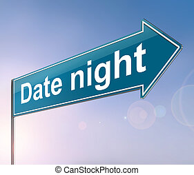 Depicting a sign with a date night concept.