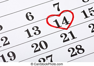 date of February 14 on the calendar, Valentine's Day red heart encircled