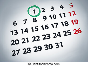 Date on the 1st - A date circled on a 1st day of a calendar...