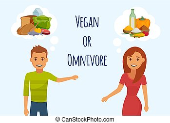 Date or meeting of two young people girl and man thinking about each other vector illustration. Vegetarian or meat eater is a question. Vegetarian nutrition concept.