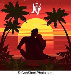 date, plage, romantique