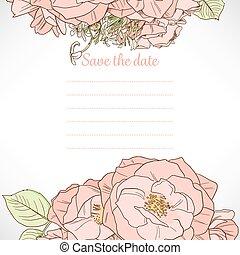 date, rose, sauver, gabarit