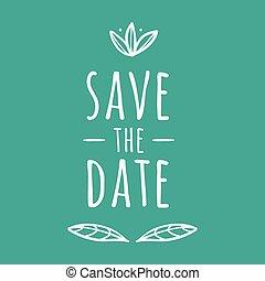 date, sauver, image, vecteur, mariage