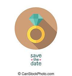 date, sauver, mariage, anneau diamant
