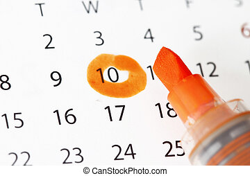 date, souligner, calendrier