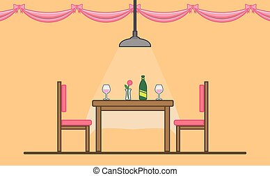 date, table, dinning, romantique