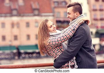 date, ville, couple, romantique