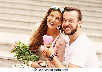 date, ville, couple, romantique, jeune