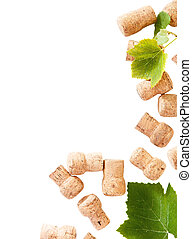 Dated wine bottle corks on the white background. Close up