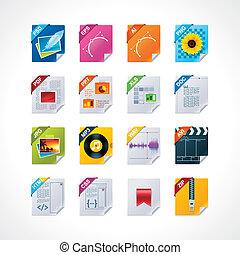 datei, etiketten, ikone, satz