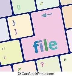 datei, taste, auf, edv, pc, tastatur, schlüssel, vektor, abbildung
