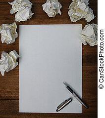 datei, von, luxus, stift, papier, und, zerknittertes papier,...
