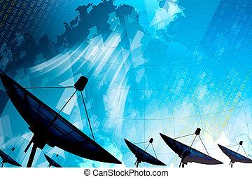 datenübertragung, satellitenschüssel