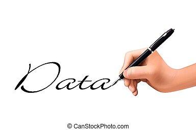 daten, geschrieben, 3d, wort, hand