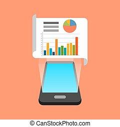 daten, isometrisch, smartphone, app, infographic, concept., design.