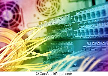 daten, vernetzung, kabel, kugel, zentrieren, server, technologie