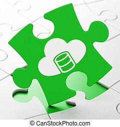 datenbank, concept:, datenbank, mit, wolke, auf, puzzel, hintergrund