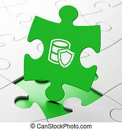datenbank, concept:, datenbank, schild, auf, puzzel, hintergrund