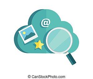 datenschutz, wolke, storage., informationen, durchsuchung