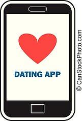 dater, app, sur, a, intelligent, téléphone, vecteur