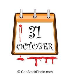 datera, kalender, halloween, blodig