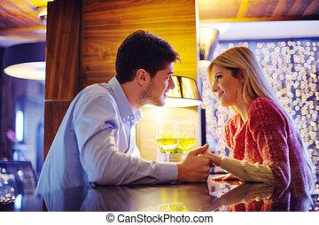 datera, kväll, romantisk