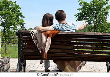 datering, på, bänk