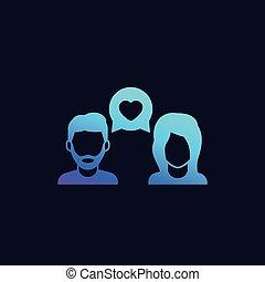 datering, praatje, liefde, vector