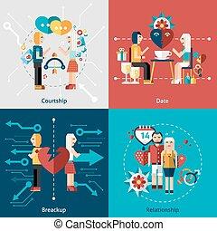 datering, set, pictogram