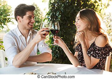 datering, sittande, par, älskande, drickande, cafe, vin
