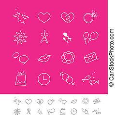 datering, &, social, kärlek, ikonen