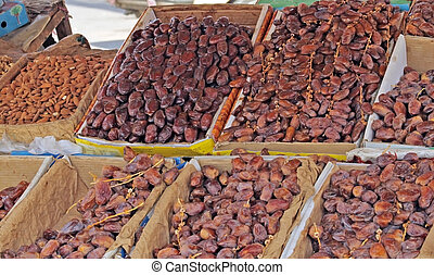 Dates (date fruits) on display in the street market