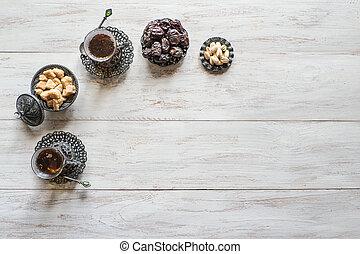 dates, espace, bois, thé, sommet, blanc, copie, table., vue