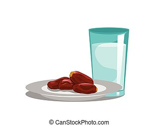 dates fruit with glass of water