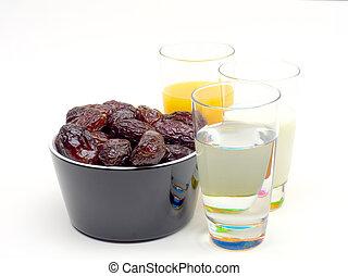 dates jiuc milk and water