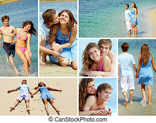Dates on vacation - Collage of happy young couple enjoying...