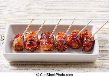 dates, pintxos, tapas, lard, pinchos, emballé