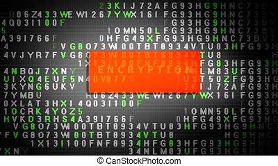 dati, cifratura, processo, su, tavoletta, schermo