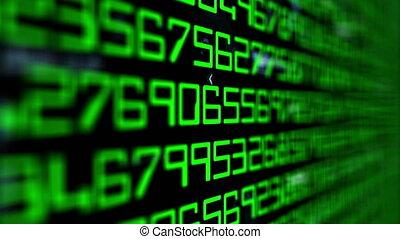 dati, codice, su, schermo calcolatore