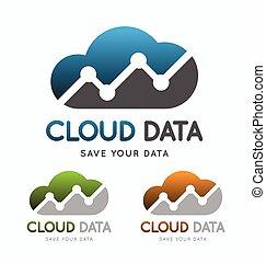 dati, concept., tecnologia, nuvola, logotipo
