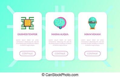 dati, elettrico, cervello, neurale, rete, moderno, magazzino, set, illustrazione, artificiale, pagina, intelligenza, vettore, sito web, atterraggio, sagoma