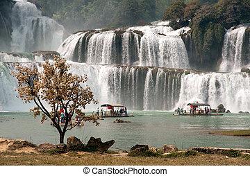 datian, cachoeira, em, china.
