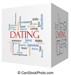 Dating 3D cube Word Cloud Concept