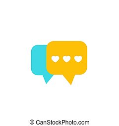 Dating app, love chat vector icon, flat