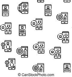 Dating App Seamless Pattern Vector