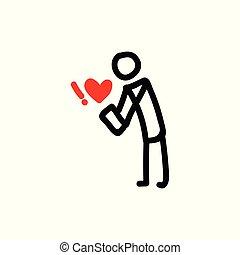 Dating app stickman vector illustration.