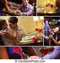Dating - Collage of loving couple at Valentine?s Day